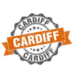 cardiff round ribbon seal vector image vector image