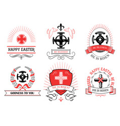 easter crucifix cross for paschal greeting vector image