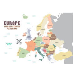 europe map with colour and name vector image