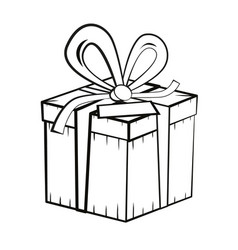 gift box outline present box vector image vector image