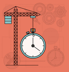 background with crane tower and clock vector image vector image