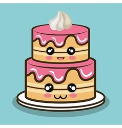 big cake cartoon with cream pink graphic vector image vector image