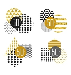 black white gold sale sticker vector image vector image