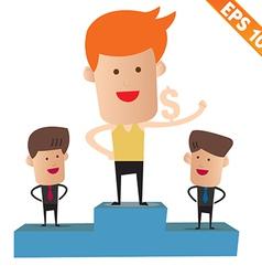Cartoon business man on winner podium - - EP vector image vector image