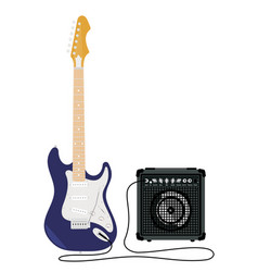 Electric guitar with strings vector