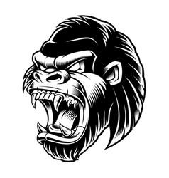 head of gorilla black and white version vector image vector image