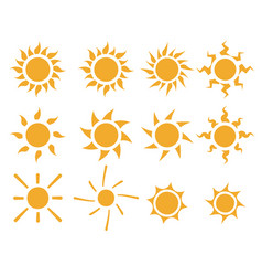 set of sun icons in many style vector image vector image