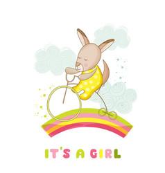baby shower card - baby girl kangaroo on a bike vector image vector image