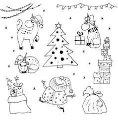 christmas unicorns vector image
