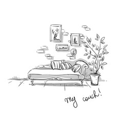 comfortable couch vector image
