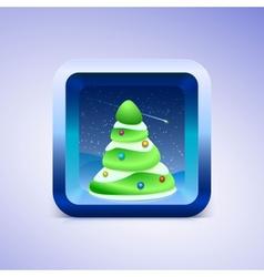 Green festive fir icon IOS style vector image vector image