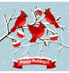 Happy holidays greeting card with birds red vector image vector image