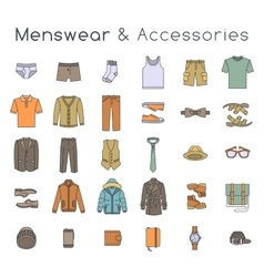 Men fashion clothes and accessories flat line vector image vector image