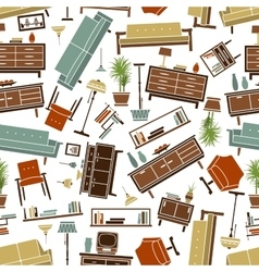 Retro furnishing seamless background pattern vector image