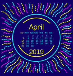 2019 april calendar page in memphis style poster vector image