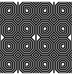 Abstract black and white octagon spiral seamless vector