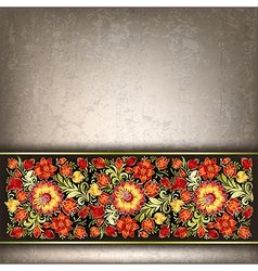 Abstract grunge gray background with red floral vector