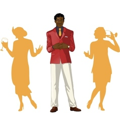 Afroamerican male party host with female guests vector image