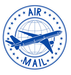 air mail blue emblem postal ink stamp vector image