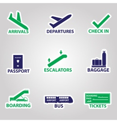 airport signs stickers eps10 vector image