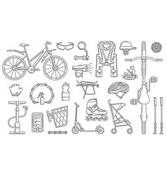bicycle theme design element set vector image