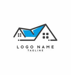 blue grey house real estate logo vector image