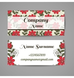 Business Cards Red Flowers vector image