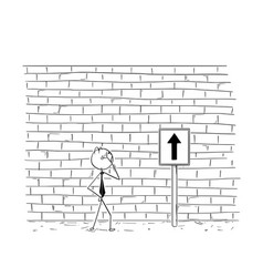 Cartoon of business man looking at wall obstacle vector