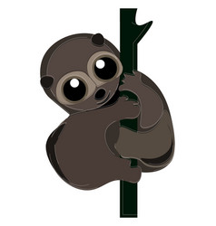 Cartoon smiling brown loris primate or color vector
