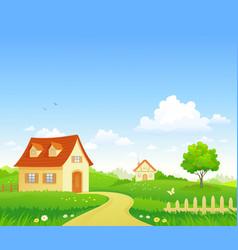 cartoon summer village vector image