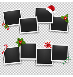 Christmas photo frame set vector