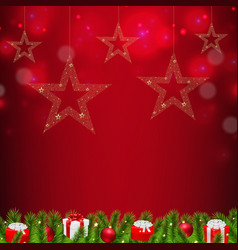 christmas postcard with stars vector image