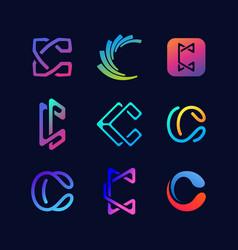 Collection letter logo c color gradient vector