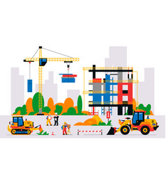 construction site with equipment and workers vector image