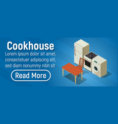 cookhouse concept banner isometric style vector image