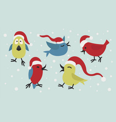 cute funny santa claus birds sticker icon set vector image