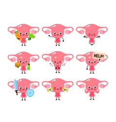 cute healthy happy women uterus organ vector image