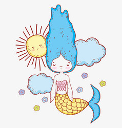 Cute mermaid woman with clouds and flowers vector