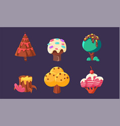 Cute sweet candy trees and plants set colorful vector