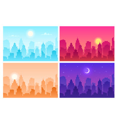 daytime cityscape panoramic urban landscape in vector image