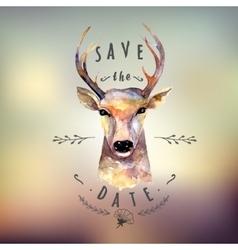 Deer watercolor save date vector