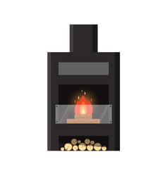 Different colorful home fireplace with fire vector