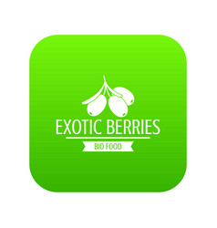 exotic berries icon green vector image