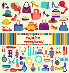 Fashion and beauty women accessories icons vector image