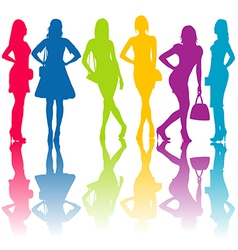 Fashion silhouettes of women vector image