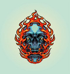 fire skull head mascot vector image