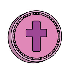 First communion cross icon vector