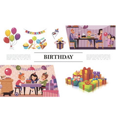 flat birthday party composition vector image