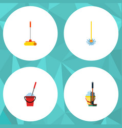 Flat icon mop set of broomstick mop bucket and vector