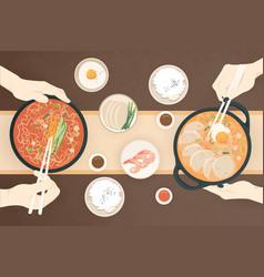 flat traditional korean food vector image